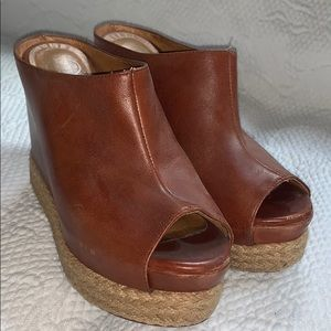 Jeffrey Campbell Sz 38 Chestnut leather wedge